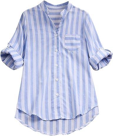 Camisa blusa mujer de rayas manga larga de algodón