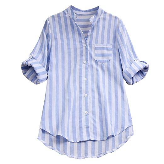 0e9d4d15150 Women Autumn Striped Long Sleeve Shirt Cotton Linen Casual Loose Stand  Blouse Button Tops (S