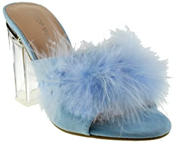 TOP Moda Quenna 1 Womens Clear Fluffy Chunky Heel Peep Toe Lucite Sandals  LT Blue 5.5