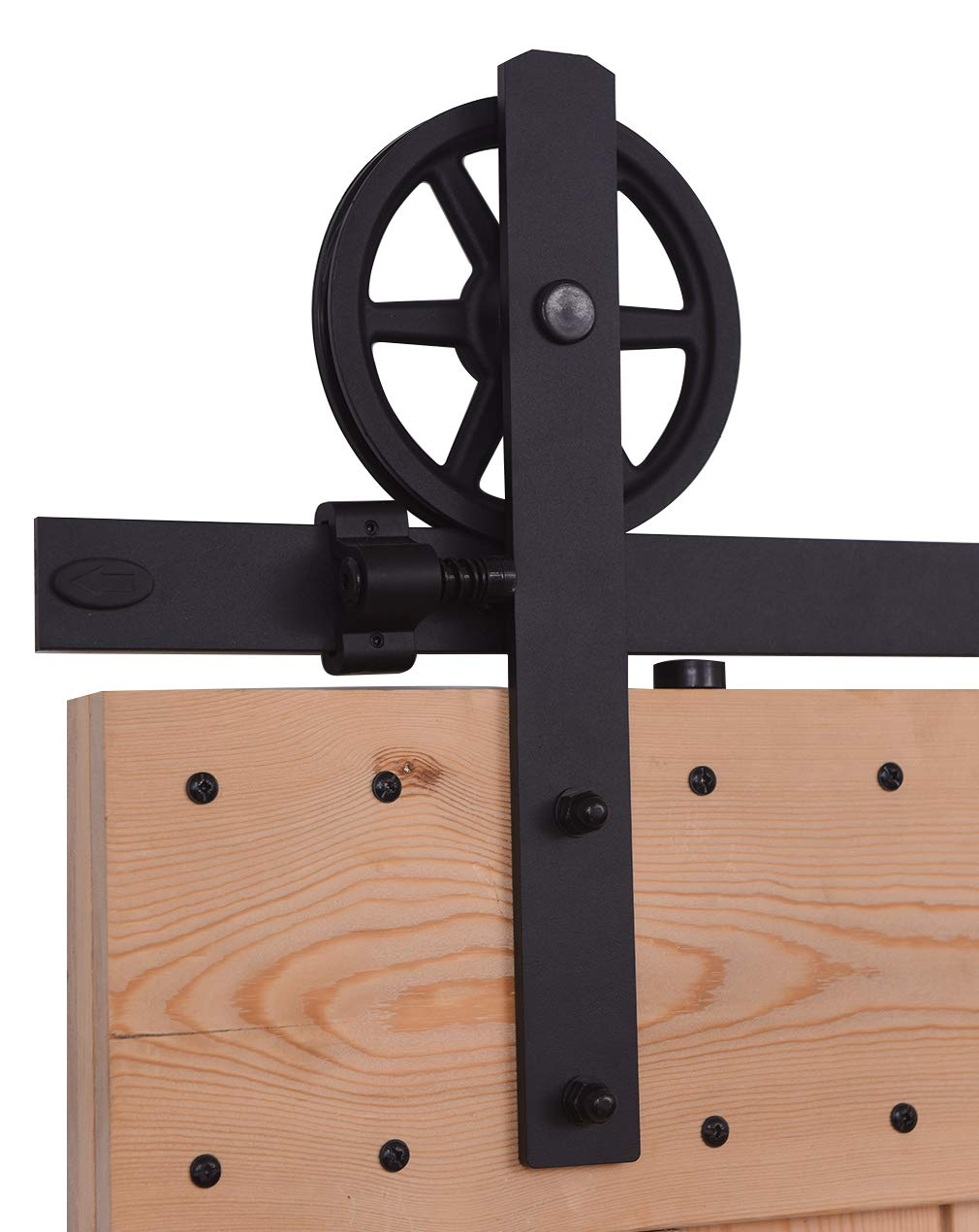CCJH 5.5FT-168cm Herraje para Puerta Corredera Kit de Accesorios para Puertas Correderas Rueda Riel Juego para Una Puerta de Madera