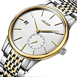Mens Minimalist Automatic Mechanical Waterproof Sapphire Crystal Two Tone Stainless Steel Watch