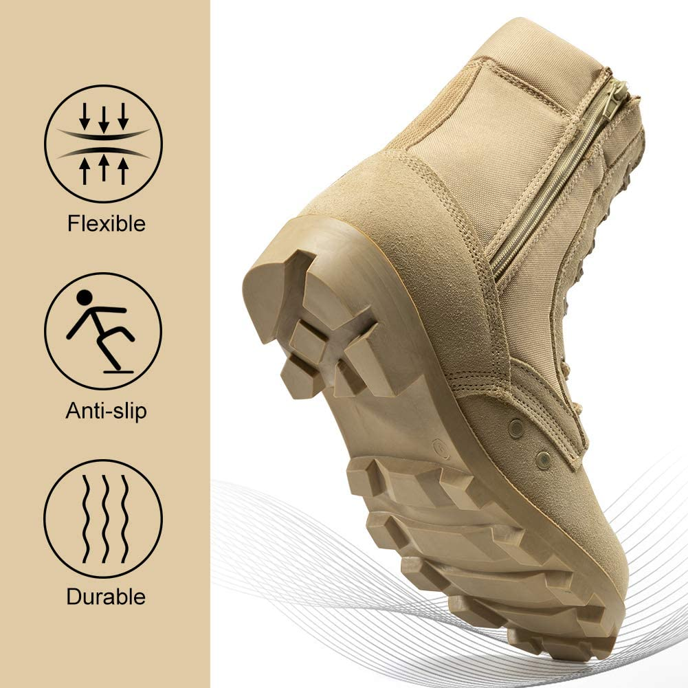 KaiFeng Mens Tactical Military Combat Ankle Boots Lightweight Breathable Summer Jungle Boots Hiking Motorcycle Combat Bootie Side Zipper Jump Boot