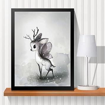 Schon Raybre Art Cartoon Hirsch Flügel Moderne Abstrakte Print Malerei Bild  Wandbild Wandkunst Für Schlafzimmer Wohnzimmer Dekor