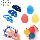Stress Ball,Grip Ball, 3 Hand and Finger Strengthener Exercise Balls and 3 Finger Stretcher Excercisers - Seven Different Levels Strengths