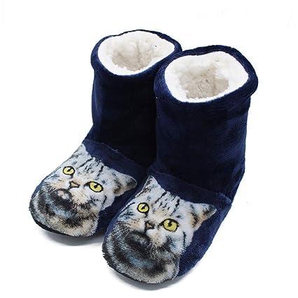 JSTH Zapatos de botín de Zapatillas con Botines de impresión para el hogar Inicio Botas de