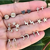 Asooll 9Pairs Star Heart Moon Multiple Stud Earrings set Fashion Stud Earring Set for Women and Girls