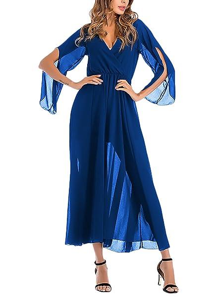 Kleider Damen Elegant Perfect Pin-up Festlich Sommerkleider Kleid Lang  V-Ausschnitt 50Er Jahre 263b66ae90