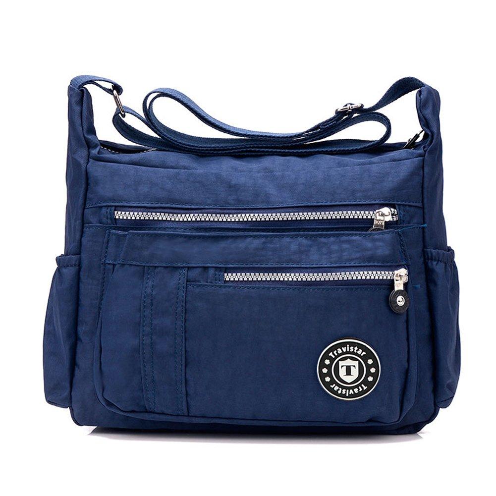Travistar Multi-Pocket Crossbody Bags Waterproof Nylon Shoulder Bags Purse for Women