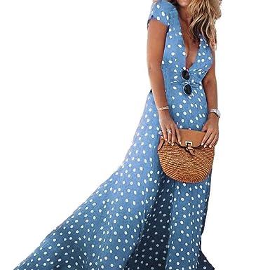 Mengonee Pois di stampa del V collo maxi del partito della maglia sera Boho  Summer Cocktail Dress Beach Polka Dress Sundress  Amazon.it  Abbigliamento cf7925c4579