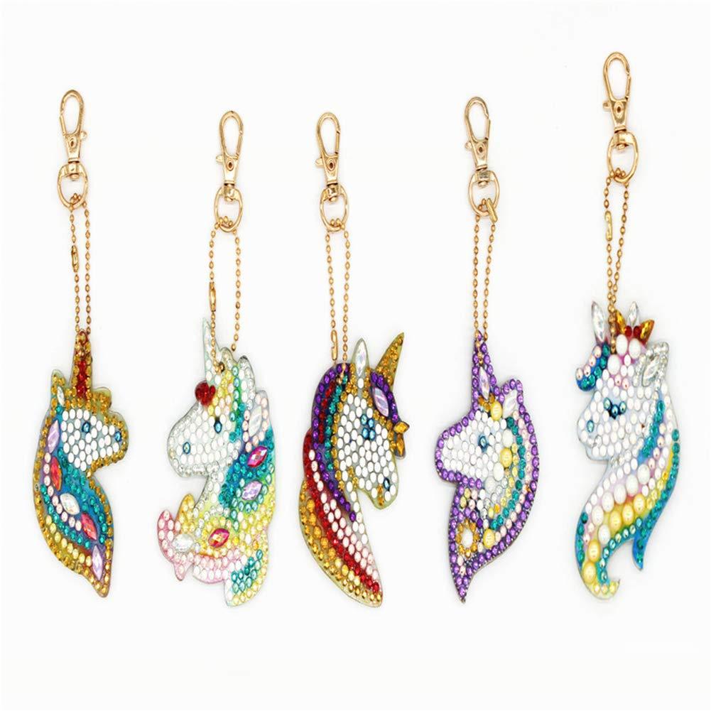 confezione da 5 ciondolo a forma di unicorno per borse e cellulari Greatmin portachiavi fai da te con strass 5D a mosaico
