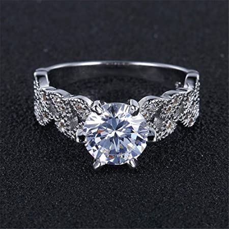Amazon.com: JEWH 1.5 Carat AAA Zircon Jewelry - Wedding Engagement Rings for Women - Vintage 925 Sterling Silver Anel Crystal Bague Leaves - Proposal Rings ...
