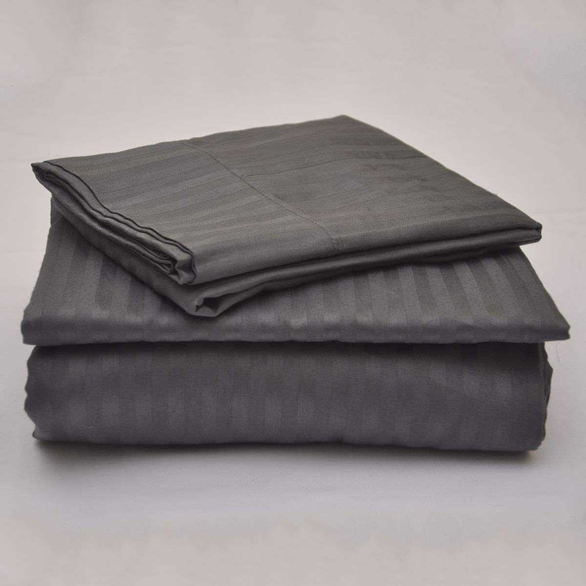 Cometa Bed Sheet Set 4 PCs - 400 Thread Count - 100% Pure Cotton Extra Soft - Breathable & Wrinkle Free - Fits Mattress Upto 22'' Deep Pocket - Full, Dark Grey Stripe