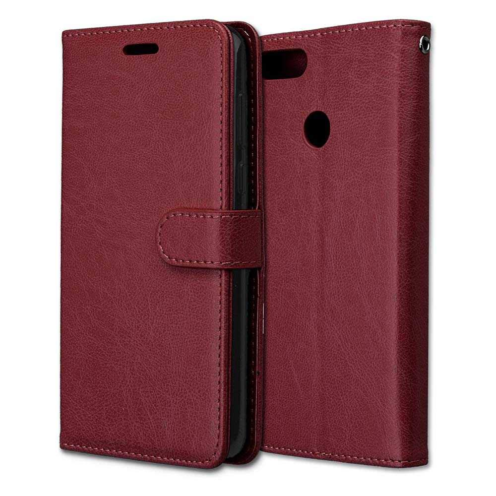CAXPRO Huawei Y9 2018 Case, Shockproof Wallet Cover for Huawei Y9 2018, Slim Leather Notebook Style Case with Soft TPU Inner Bumper, Brown by CAXPRO