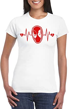 White Female Gildan Short Sleeve T-Shirt - Deadpool heart beat - Red design