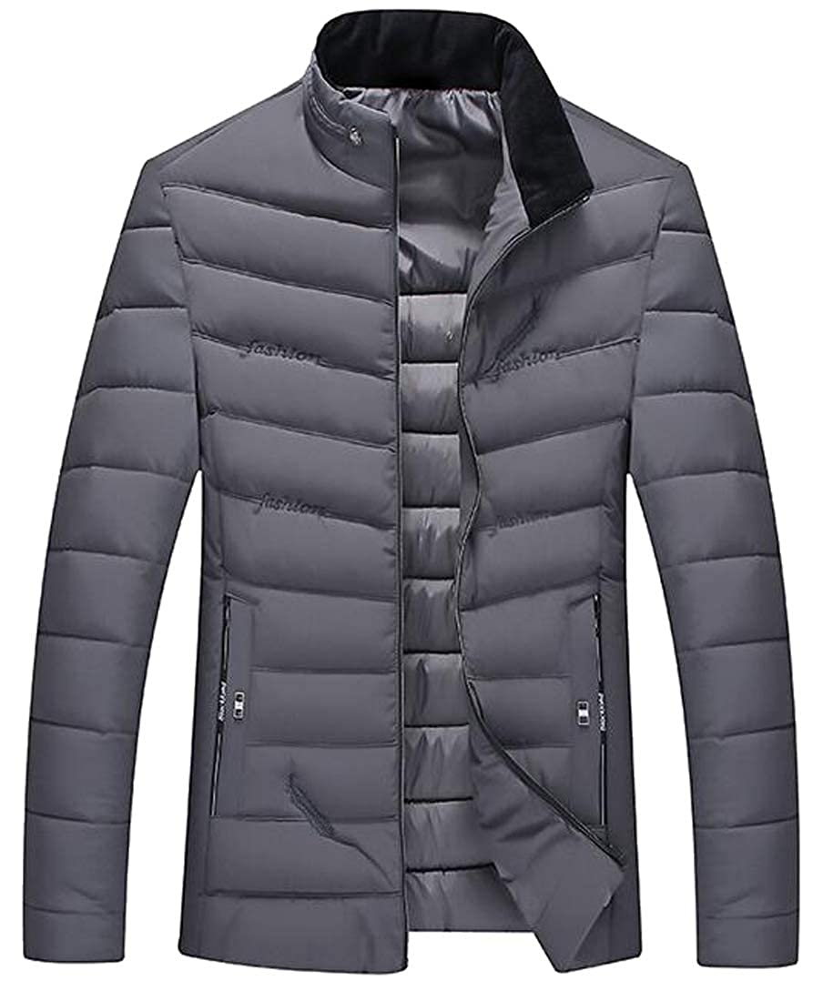 WAWAYA Mens Stand Collar Thicken Winter Embroidery Down Quilted Jacket Coat Outwear