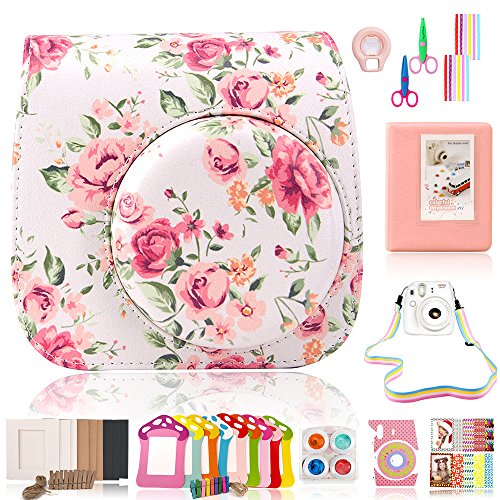 Wolven Camera Accessory Bundles Set for Fujifilm Instax Mini 8 / Mini 8+ / Mini 9(Case/Strap/Album/Lens/Filters/Frame/Scissor/Border Sticker/Film Sticker/Camera Sticker) – White Vintage Flower Floral