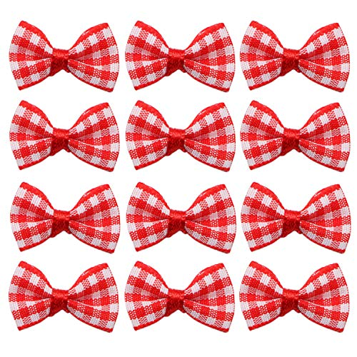 JETEHO 100pc Mini Red Bowknot Bow Ribbon for Crafts Party Decoration, Scrapbooks, Wedding Invitations