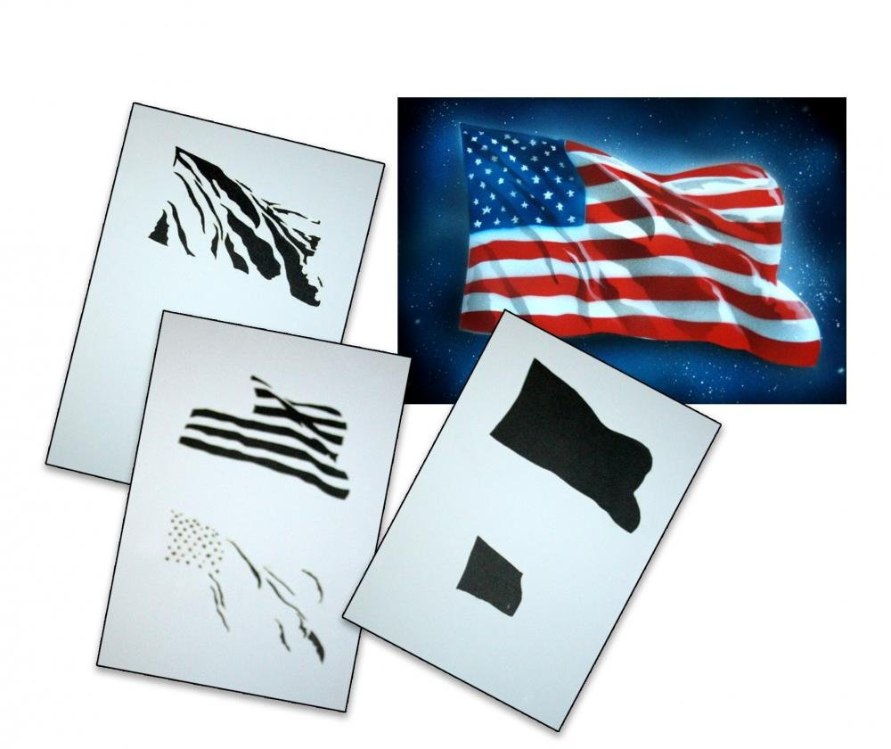 UMR-Design AS-077 USA Flag Airbrush Stencil Template Step Step Size S
