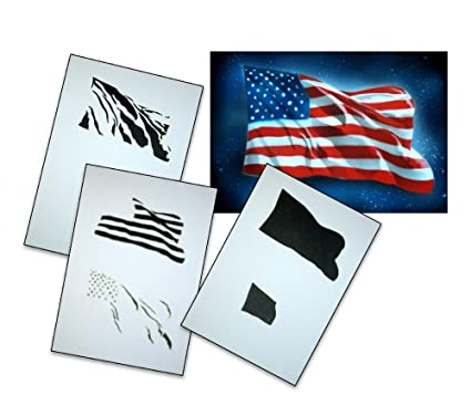 UMR-Design AS-077 USA Flag Airbrush Stencil Template Step Step Size L