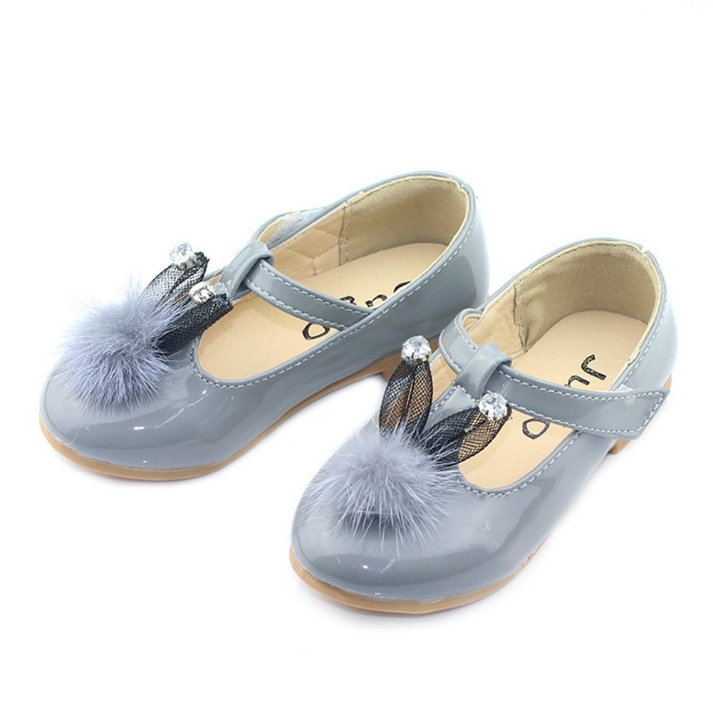 Toddler//Little Kid T-JULY Girls Shiny Non-Slip Mary Jane Shoes Rabbit Ears Princess Dress Shoes