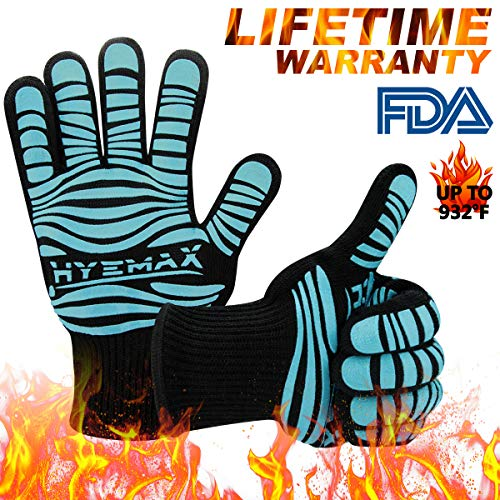 HYEMAX BBQ Gloves Oven Gloves Grill Gloves 932 Extreme Heat Resistant BBQ Fireproof Gloves Flexible Oven mitt Gloves Smoker Gloves BBQ Cooking Gloves for Cooking, Grilling, Frying, Baking