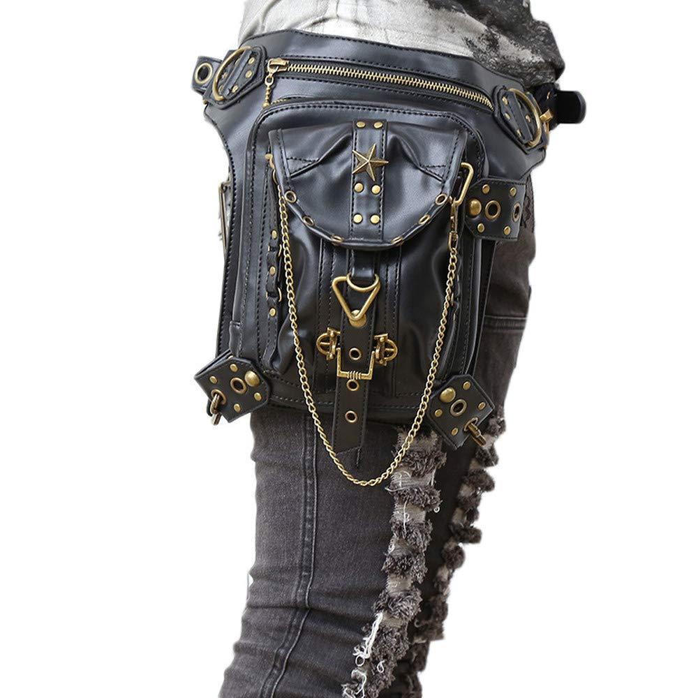 Gothic Steampunk Gürteltasche Oberschenkelholster Taschen Dual-Use Schulter Crossbody Tasche für Nachtclub