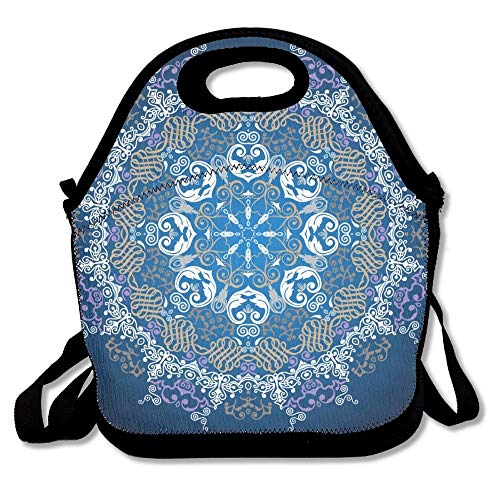 Junnikay Round Psychedelic Mandala Colorful Decor Insulated-Lunch Bags Travel/Outdoor/Work/Picnic Lunchbox Shoulder Bag Design Lunch Box Accessories For Kids Adults