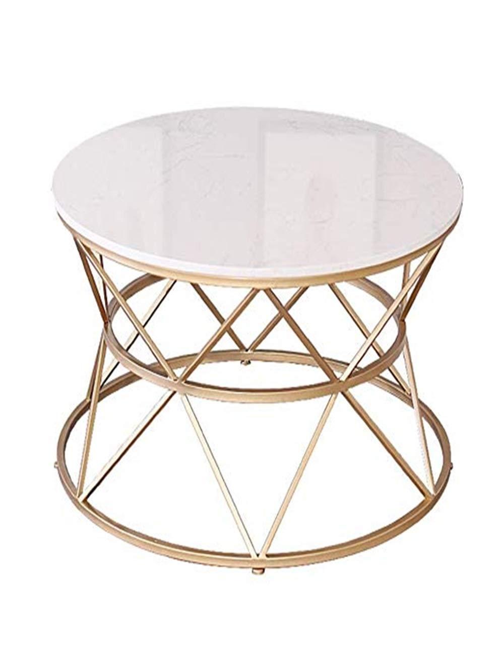 シンプルなコーヒーテーブル、白い大理石のカウンタートップ、金属鉄のデザインホテル、ダイニングルーム、家具ルーム、ラウンド B07QD4F16K