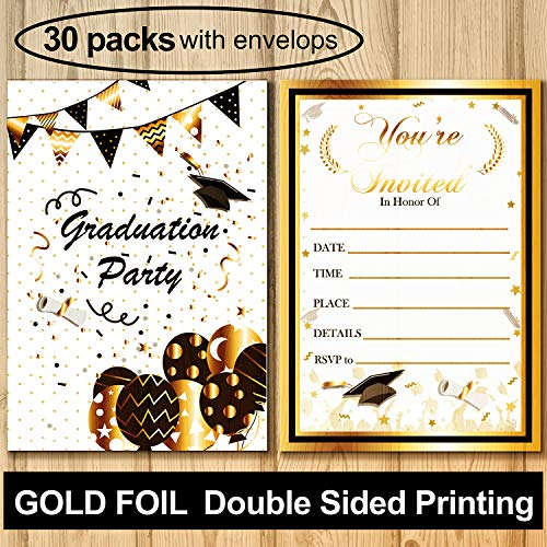 PartyShow 30PCS Graduation Party Invitation with Envelope/Gold Foil Embossed-Fill In Invite Card for Supplies,Favor Decor,Activities,Game-Grad Celebration Announcement for 2019 High School,College