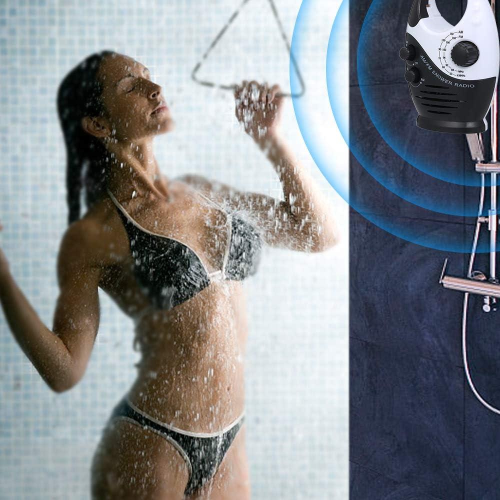 Not Including Battery Walmeck AM//FM Mini Shower Radio Bathroom Waterproof Radio Hanging Music Radio Built-in Speaker
