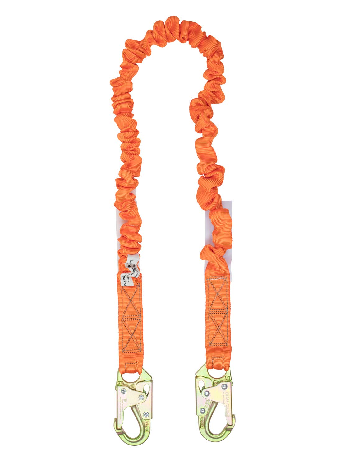 Single Leg Stretch Internal Shock Absorbing Lanyard - 2 Steel Snap Hooks - Industrial Webbing - 4.5 to 6 feet, OSHA/ANSI Compliant by Malta Dynamics