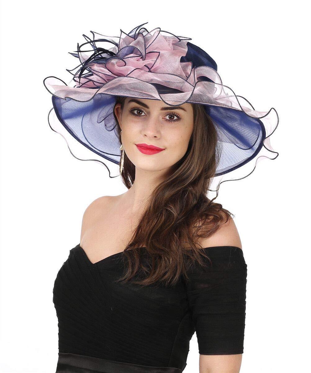 SAFERIN Women's Organza Church Kentucky Derby Fascinator Bridal Tea Party Wedding Hat (2867-Navy Pink)