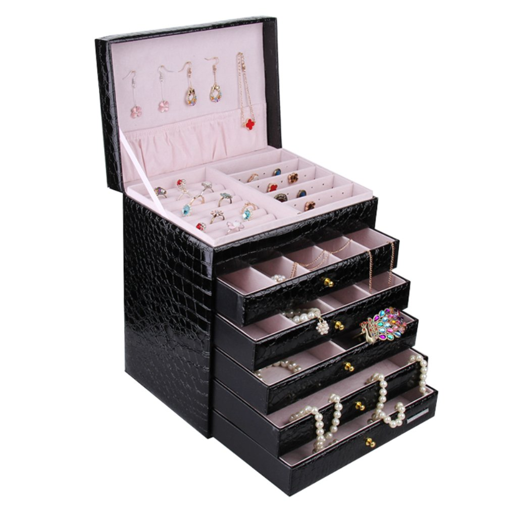 Extra Large Jewelry box Cabinet Armoire Bracelet Necklace Storage Case ZG209 (Black)