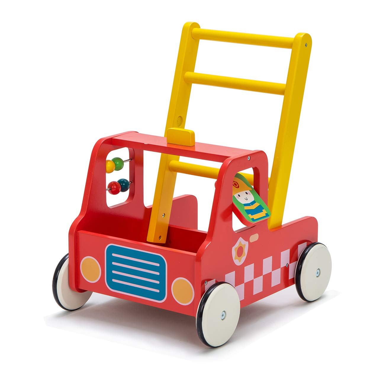 Hessie Wooden Push Toy, Baby Walker with Wheel, FireEngine Activity Toy, Toddler Learning Walking Toys for 1 2 3 Year Old