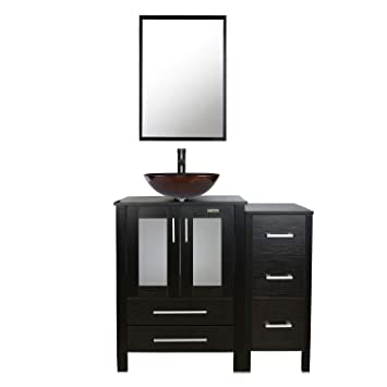 Eclife 36 Bathroom Vanity Sink Combo Wblack Small Side Cabinet