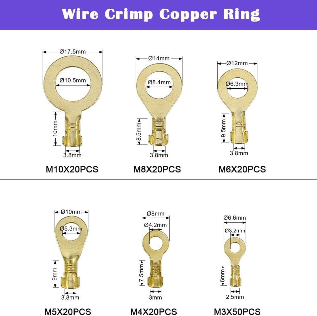 Cersaty/® Lot de 150 cosses /à anneaux en cuivre non isol/ées M3 M4 M5 M6 M8 M10