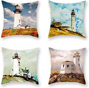 """ShareJ 4 Pack Decorative Pillow Cover Waiting Lighthouse Throw Pillow Cases Home Decor Indoor Gift Kitchen Garden Sofa Bedroom Car Living Room 18""""X18"""" Super Soft Pillowcase"""