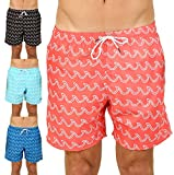 UZZI Men's Bimini Swim Trunks (Small, Coral)
