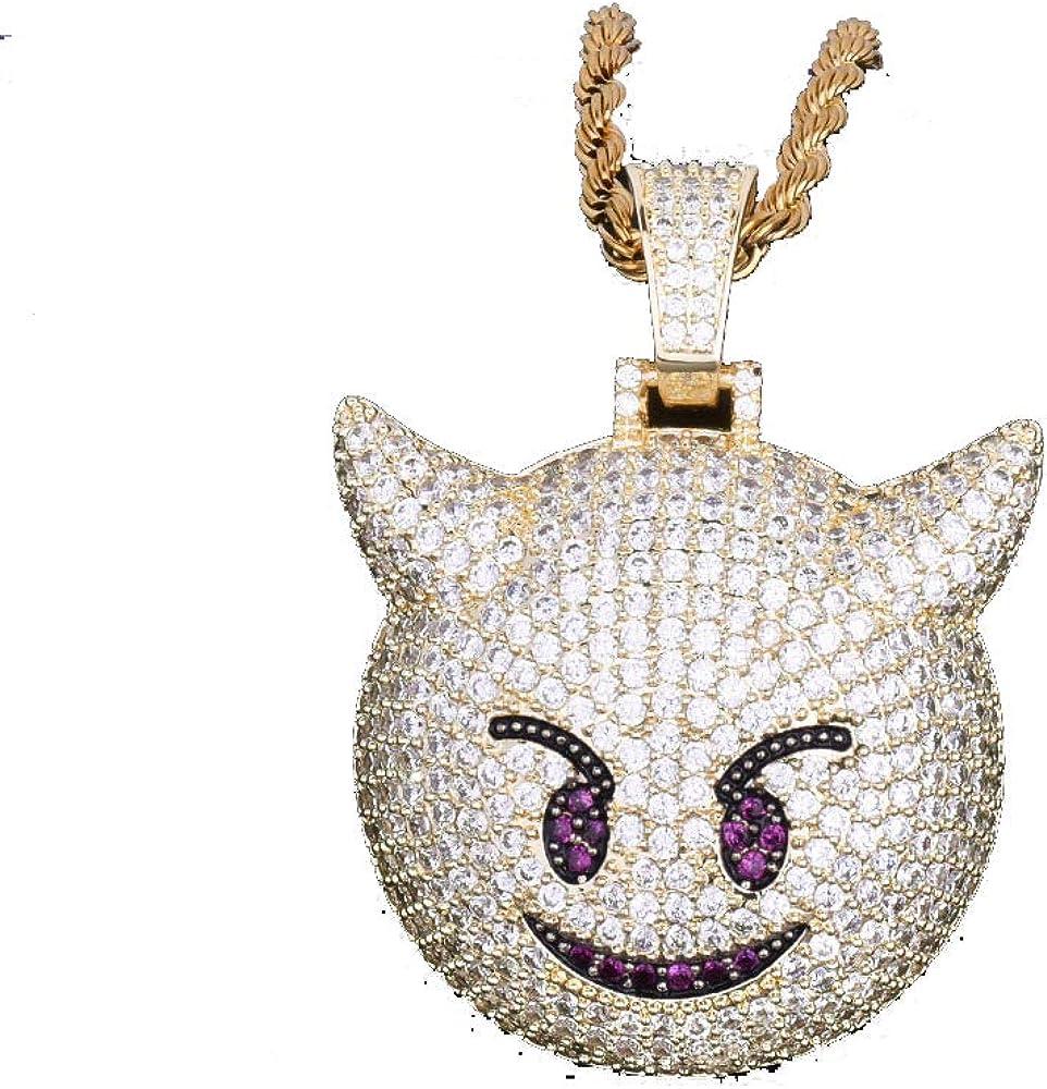 LC8 Jewelry - Collar con colgante de demonio, emoticono con micropavé, chapado en oro de 18 quilates con diamantes de imitación, para hombres, mujeres y niños