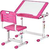 Children Desk Kids Study Child School Adjustable Height Children's Table Chair Set with Storage for Kids-Pink