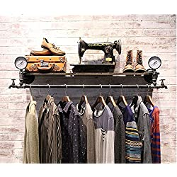 WGX Pipe Garment Rack Wall Clothing Coat Clothes Hangers Clothing Rack Steampunk Style Decor Garment Rack Industrial Pipe Rack Pipe Clothing Rack Industrial Rack Store Furniture 36''