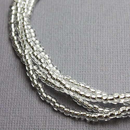 Strand Single Look - Silver Seed Bead Necklace, Single Strand Silver Beaded Necklace