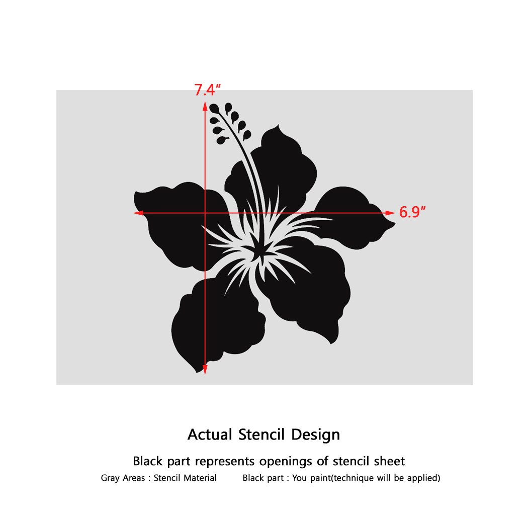 Amazon j boutique stencils small hibiscus wall art stencil for amazon j boutique stencils small hibiscus wall art stencil for diy wall art easier and quicker than decals arts crafts sewing izmirmasajfo