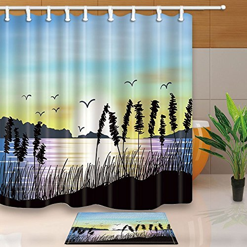 - HiSoho Lake House Decor,Lake Landscape with Water Plants with Silhouette,71X71in Resistant Polyester Fabric Shower Curtain Suit with 15.7x23.6in Flannel Non-Slip Floor Doormat Bath Rugs