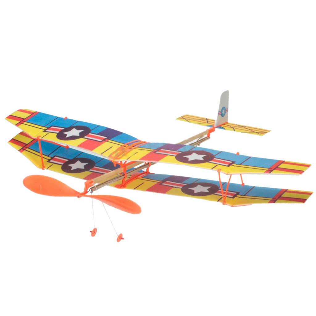 DIY Assembly Aircraft Aviation Model Planes Powered By Rubber Band Children Kids Outdoor Toy Blue & Yellow Generic STK0157001114