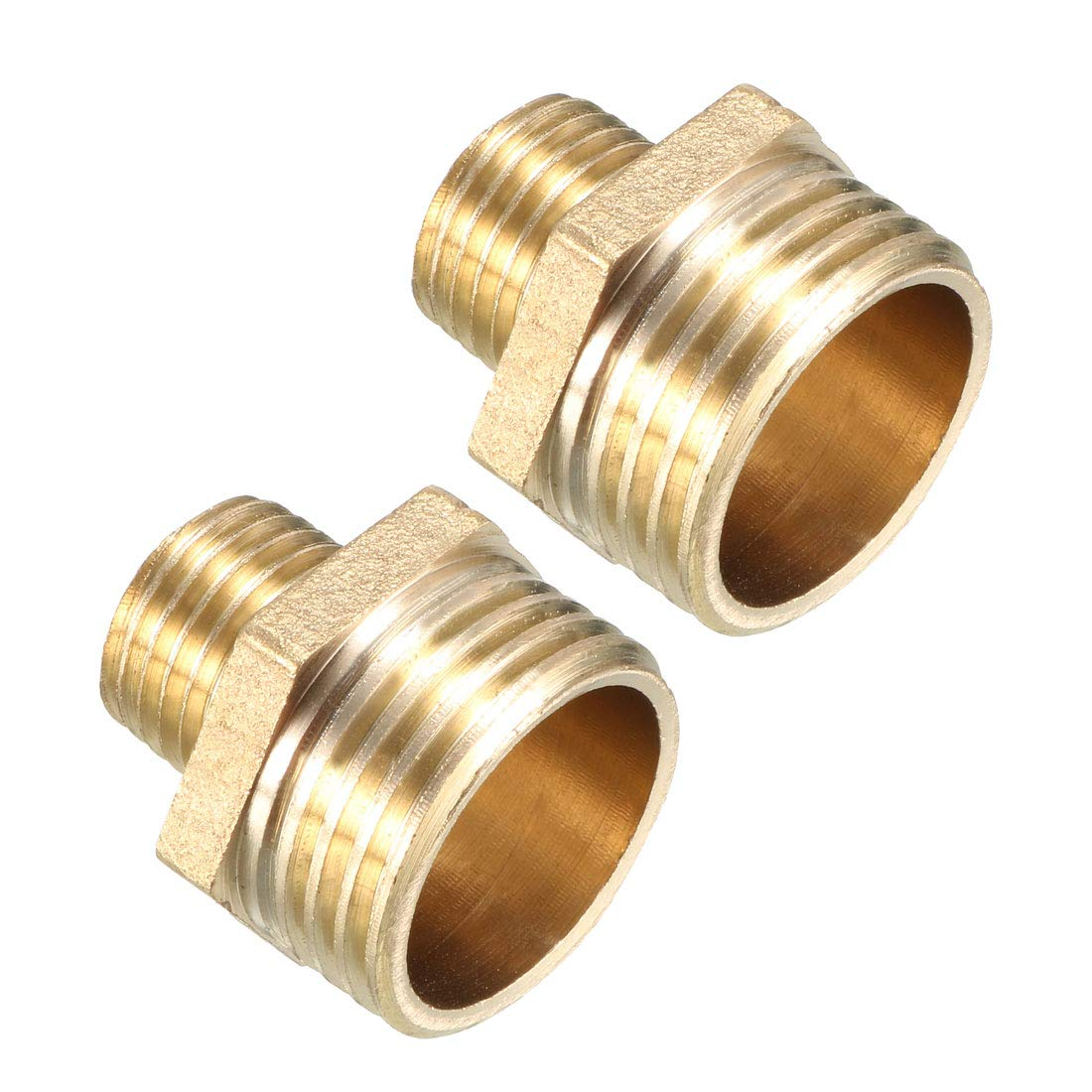 uxcell Brass Pipe Fitting Reducing Hex Nipple 1//2 BSP Male x 1//4 BSP Male Adapter 2pcs