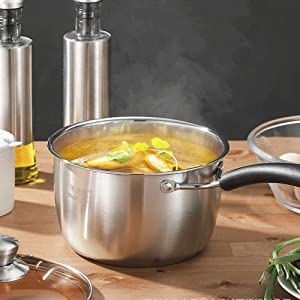 ONLYXKZ Stainless Steel Saucepan with Glass Lid, Easy Pour with Ergonomic Handle, Multipurpose Sauce Pan with Lid, Sauce Pot,16CM