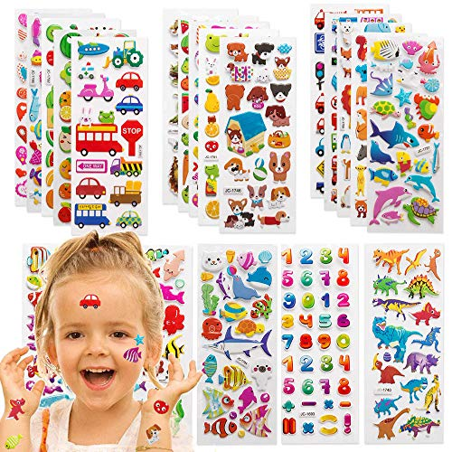 GRACEON Stickers for Kids 1000+, 40 Different Sheets, 3D Puffy Stickers for Kids, Bulk Stickers for Girl Boy Birthday Gift, Scrapbooking, Teachers, Toddlers, Including Animals, Stars, Fishes and More