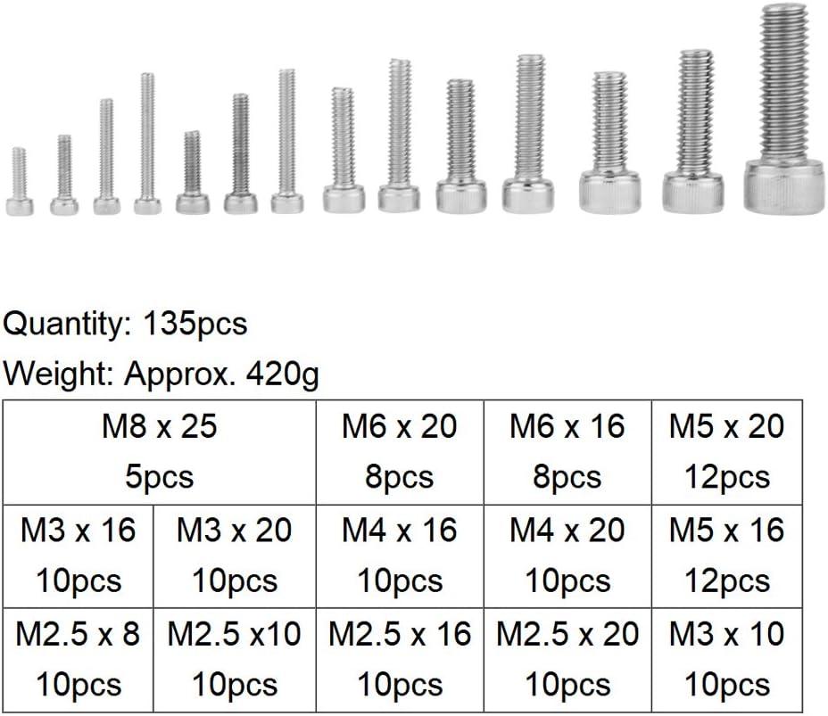 Lot de 135 vis /à t/ête hexagonale en acier inoxydable 304 Assortiment de vis M2,5 M3 M4 M5 M6 M8 avec /étui de rangement