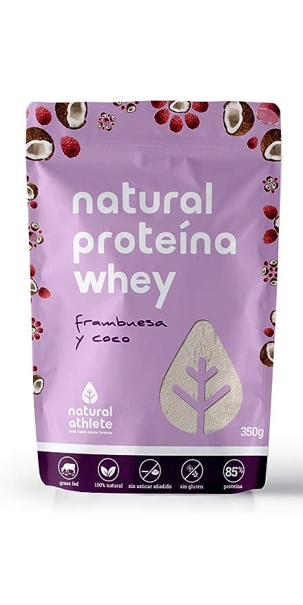 Proteína Whey Frambuesa y Coco - Natural Athlete - 85% Proteína aislada de leche de vacas de pasto - Grass-fed, 100% Natural - BIO - Sin Gluten - Sin ...